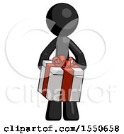 Black Design Mascot Man Gifting Present With Large Bow Front View