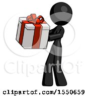 Black Design Mascot Woman Presenting A Present With Large Red Bow On It