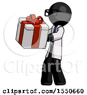 Black Doctor Scientist Man Presenting A Present With Large Red Bow On It