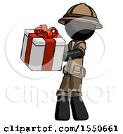 Black Explorer Ranger Man Presenting A Present With Large Red Bow On It