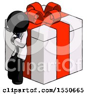 Black Doctor Scientist Man Leaning On Gift With Red Bow Angle View