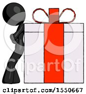 Black Design Mascot Woman Gift Concept Leaning Against Large Present