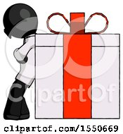Black Doctor Scientist Man Gift Concept Leaning Against Large Present