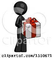 Black Design Mascot Woman Giving A Present