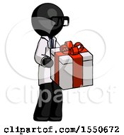 Black Doctor Scientist Man Giving A Present
