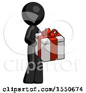 Black Design Mascot Man Giving A Present