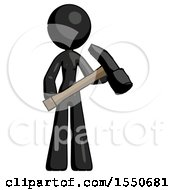Black Design Mascot Woman Holding Hammer Ready To Work