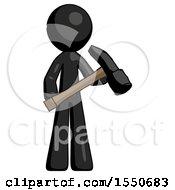 Black Design Mascot Man Holding Hammer Ready To Work