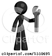 Black Design Mascot Woman Holding Wrench Ready To Repair Or Work