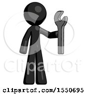 Black Design Mascot Man Holding Wrench Ready To Repair Or Work