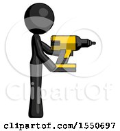 Black Design Mascot Woman Using Drill Drilling Something On Right Side