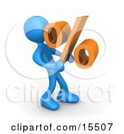 Blue Person Carrying A Heavy Orange Percentage Sign Clipart Illustration Image
