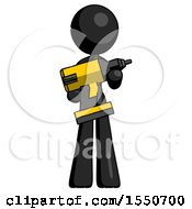 Black Design Mascot Woman Holding Large Drill