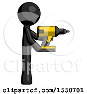 Black Design Mascot Man Using Drill Drilling Something On Right Side