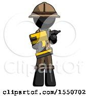 Black Explorer Ranger Man Holding Large Drill
