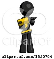 Black Design Mascot Man Holding Large Drill