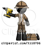 Black Explorer Ranger Man Holding Drill Ready To Work Toolchest And Tools To Right
