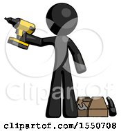 Black Design Mascot Man Holding Drill Ready To Work Toolchest And Tools To Right