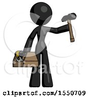 Black Design Mascot Woman Holding Tools And Toolchest Ready To Work