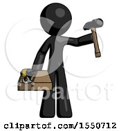 Black Design Mascot Man Holding Tools And Toolchest Ready To Work