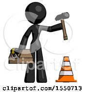 Black Design Mascot Woman Under Construction Concept Traffic Cone And Tools