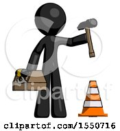 Black Design Mascot Man Under Construction Concept Traffic Cone And Tools