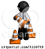 Black Doctor Scientist Man Holding A Traffic Cone