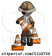 Black Explorer Ranger Man Holding A Traffic Cone