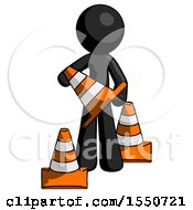 Black Design Mascot Man Holding A Traffic Cone