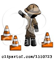 Black Explorer Ranger Man Standing By Traffic Cones Waving
