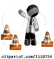 Black Doctor Scientist Man Standing By Traffic Cones Waving