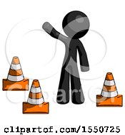 Black Design Mascot Man Standing By Traffic Cones Waving