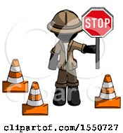 Black Explorer Ranger Man Holding Stop Sign By Traffic Cones Under Construction Concept