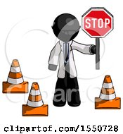 Black Doctor Scientist Man Holding Stop Sign By Traffic Cones Under Construction Concept