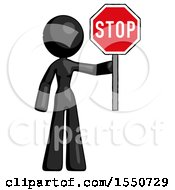 Black Design Mascot Woman Holding Stop Sign