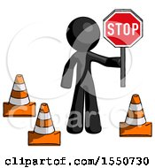 Black Design Mascot Man Holding Stop Sign By Traffic Cones Under Construction Concept