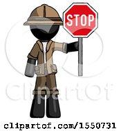 Black Explorer Ranger Man Holding Stop Sign