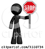 Black Design Mascot Man Holding Stop Sign