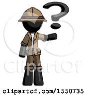 Black Explorer Ranger Man Holding Question Mark To Right