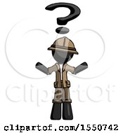 Black Explorer Ranger Man With Question Mark Above Head Confused