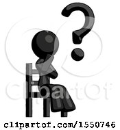 Black Design Mascot Woman Question Mark Concept Sitting On Chair Thinking