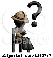 Black Explorer Ranger Man Question Mark Concept Sitting On Chair Thinking