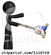 Black Design Mascot Woman Holding Jesterstaff I Dub Thee Foolish Concept