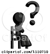 Black Design Mascot Man Question Mark Concept Sitting On Chair Thinking