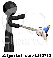 Black Design Mascot Man Holding Jesterstaff I Dub Thee Foolish Concept