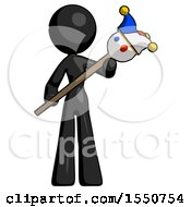 Black Design Mascot Woman Holding Jester Diagonally