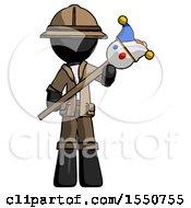 Black Explorer Ranger Man Holding Jester Diagonally