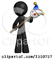 Black Design Mascot Man Holding Jester Diagonally