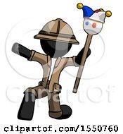 Black Explorer Ranger Man Holding Jester Staff Posing Charismatically