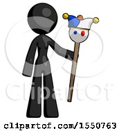 Black Design Mascot Woman Holding Jester Staff